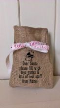 Personalized Dear Santa Small Father Christmas Xmas Santa Sack / Stocking Bag Jute Hessian